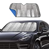 Big Ant Windshield Sunshade for Car Foldable UV Ray Reflector Auto Front Window Sun Shade Visor Shield Cover, Keeps Vehicle Cool - Blue (55' x 27.5')