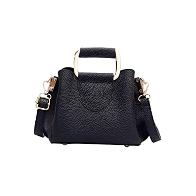 56b62e6bf Womens Embossing Portable bucket bag Simple casual lychee shoulder  Messenger Square bag