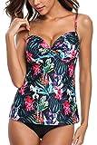 Alove Women's Tankini Sets with Shorts Floral Swimwear Beachwear Two Piece Swimsuit