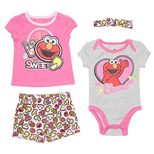 Sesame Street Baby Girls Infant Elmo Four-Piece Short Set, Gray/Pink, 24M