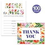Bridal Shower Invitations ( 100 ) & Matching Thank You Cards Set ( 100 ) with Envelopes, Lovely Tropical Design, Large Celebration Event Fill-in Guest Invites & Folded Thank You Notes Best Value Pair