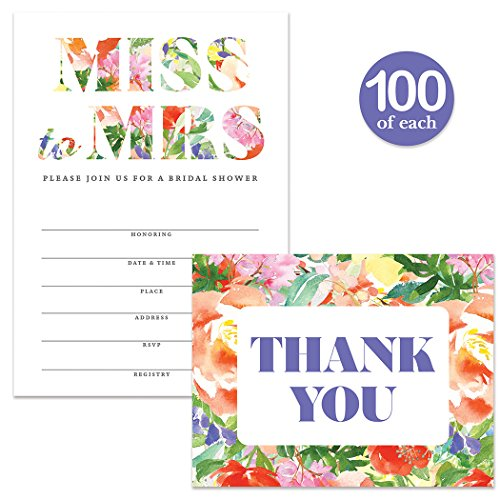 Bridal Shower Invitations ( 100 ) & Matching Thank You Cards Set ( 100 ) with Envelopes, Lovely Tropical Design, Large Celebration Event Fill-in Guest Invites & Folded Thank You Notes Best Value Pair by Digibuddha