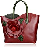 PIJUSHI Designer Genuine Leather Purses and Handbags for Women Satchel Flower Handbag (8825 Red)