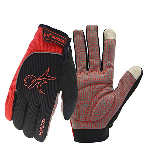 (MOREOK Long Finger Winter Cycling Gloves Touch Screen Fleece Gloves with Gel Pading Full Finger for Cold Weather for Outdoor Driving Sporting Climbing Hunting Fishing Hiking (Red, M))