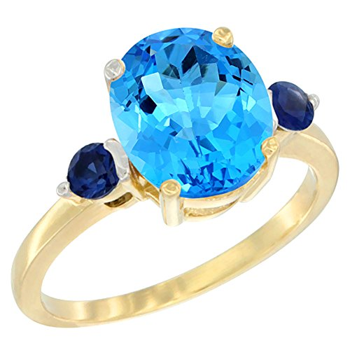 ral Swiss Blue Topaz Ring Oval 10x8mm Blue Sapphire Accent, size 10 (10x8mm Oval Cut Sapphire)