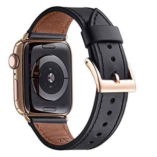(WFEAGL Compatible iWatch Band 44mm 42mm, Top Grain Leather Band with Gold Adapter (The Same as Series 4 with Gold Stainless Steel Case in Color) for iWatch Series 4/3/2/1 (Black Band+Gold Adapter))