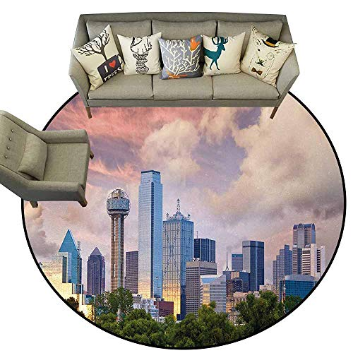 United States,Office Chair Floor Mat Foot Pad D60 Dallas City Skyline at Sunset Clouds Texas Highrise Skyscrapers Landmark Outdoor Camping Rugs Multicolor