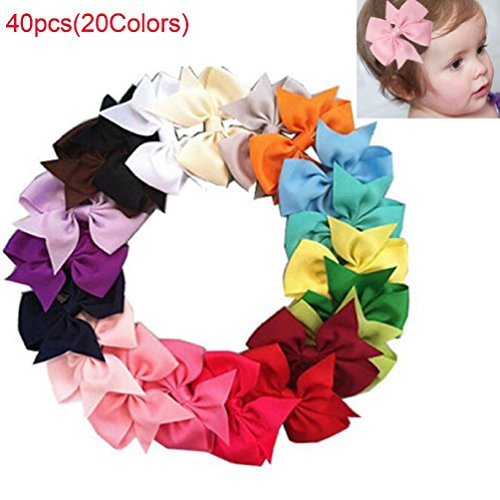 40Colors Boutique Hair Bows Girls Kids Child Grosgrain Ribbon Hair Clips Beauty