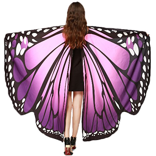 Soft Fabric Butterfly Wings Shawl Fairy Ladies Nymph Pixie Costume Accessory (Pink Purple) -
