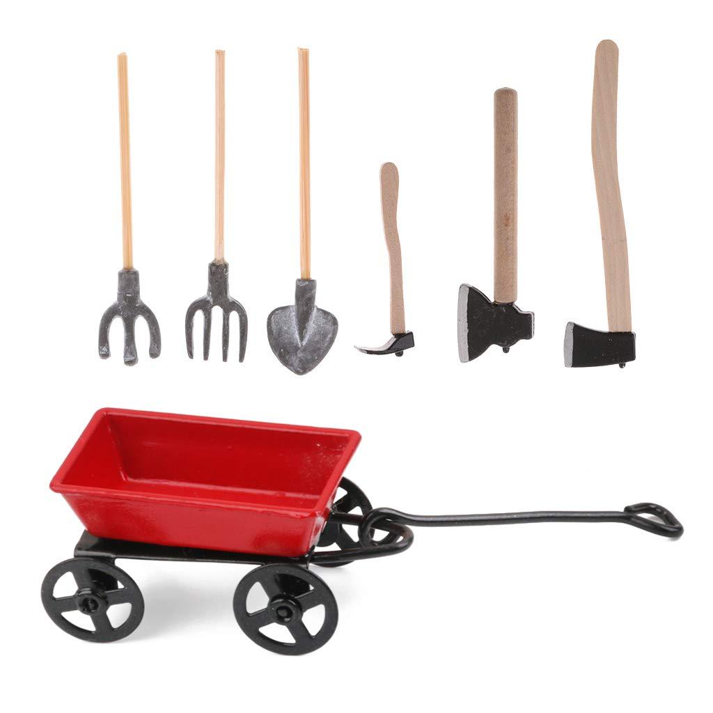 Baoblaze 1:12 Dollhouse Mini Garden Outdoor Furniture Accs Pulling Cart & Metal Hand Hatchet Set