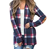 Mikey Store Clearance Women Plaid Long Sleeve Elbow Patch Draped Front Open Cardigan (Medium, Blue)