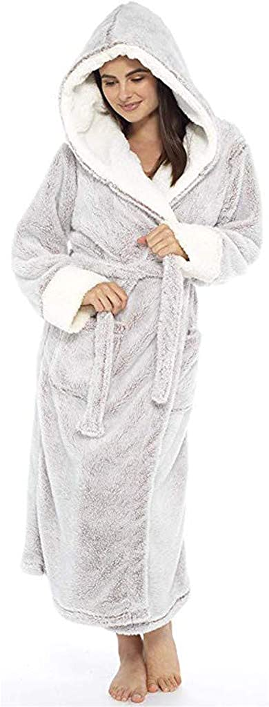 Lady Flannel Nightgown Long Winter Plush Lengthened Shawl Pajama Home Clothes Robe Coat QIUSge Women Bathrobe Warm
