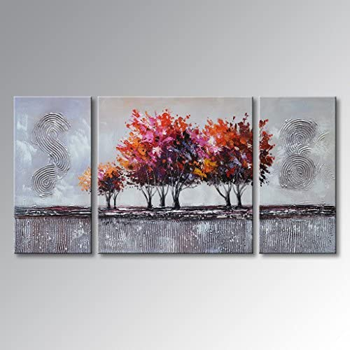 Handmade Landscape Oil Painting on Canvas Modern Wall Art Abstract Tree Pictures Framed Ready to Hang 48 W x 24 H