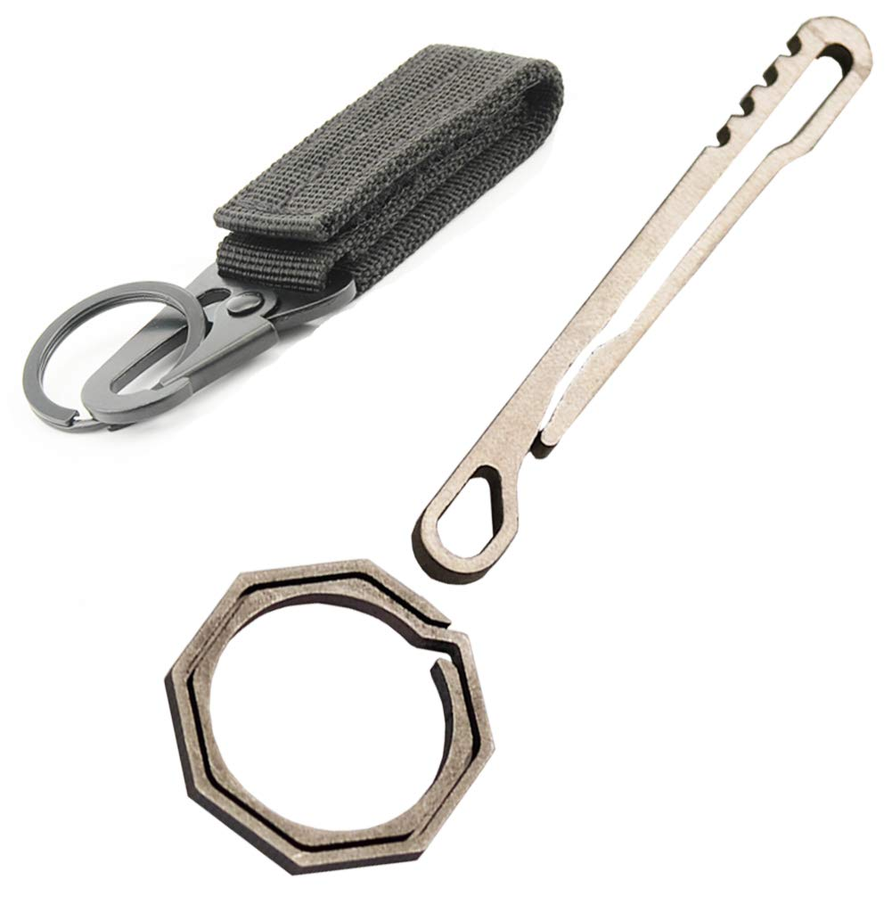 Zoe Zuckerberg Titanium Key Chain Clip with Titanium Ring and Gear Key Ring 1 Set