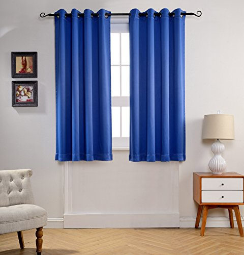 MYSKY HOME Solid Grommet top Thermal Insulated Window Blackout Curtains for Children's Room, 52 x 63 inch, Royal Blue, 1 Panel Blue Window Curtains