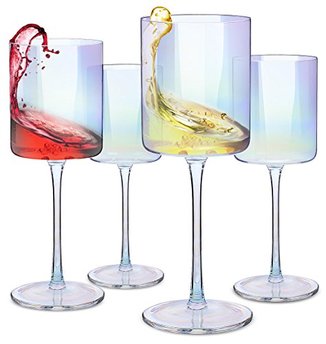 odern & Elegant Square Glass Set of 4, Large Red Wine or White Wine Glass - Unique Gift for Women, Men, Wedding, Anniversary - 14oz, 100% Lead-Free Crystal ()