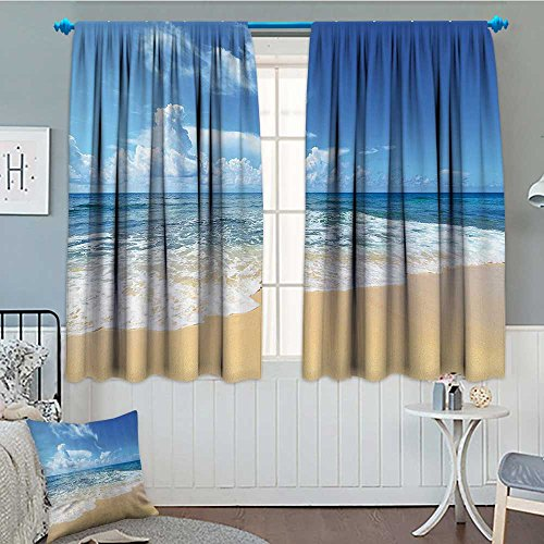 SeptSonne-Home Ocean Decor Collection Window Curtain Fabric Waves and Golden Paradise Beach with Bright Sky Sun Endless Summer Sea Coast View Print Drapes for Living Room 72