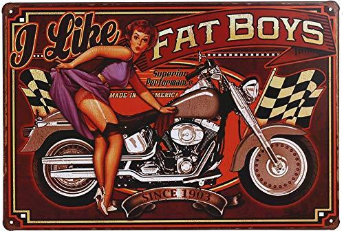 Motorcycles Girls Like - Otartu Pretty Lady Girl Retro Vintage Tin Signs Plate Wall Plaque Decor Motorcycle I Like Fat Boys (1266)