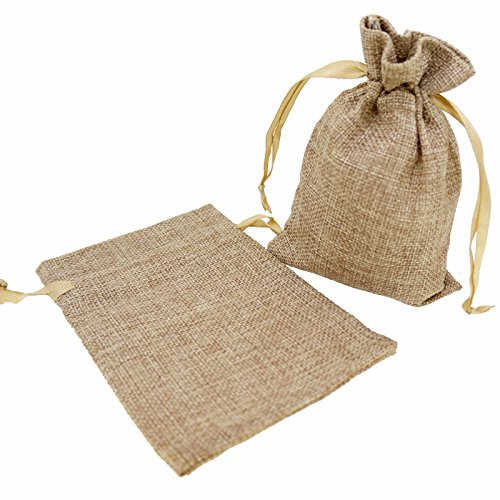 Stylish Mix Color Linen Pouches with Ribbon Drawstring for Gift Packaging, 2 Sizes Available Pack of 10 (4