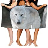 White Wolf Bath Towel Comfortable Beach Bathroom Shower Towel, 31.5'' X 51.2'' Mini Multi-purpose, Ideal For Home And Travel Use