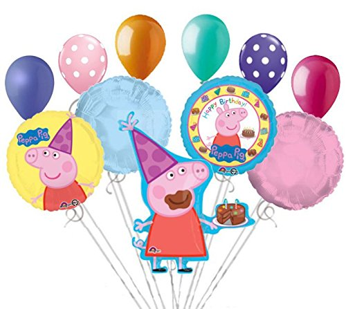 - 11 pc Peppa Pig Balloon Bouquet Party Decoration Happy Birthday Nick Jr. Cake