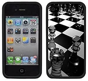 Chess Pieces Board Game Handmade iPhone 4 4S Black Case