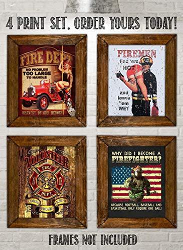 Fire Department Vintage Signs- 4 Image Set- 8 x10