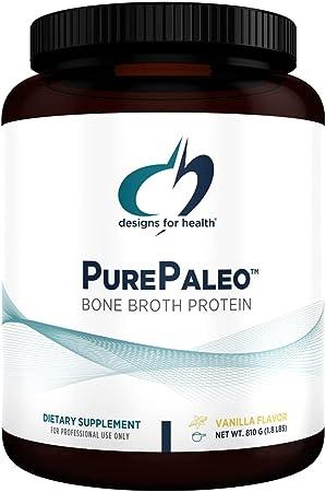 Designs for Health PurePaleo Collagen Protein Powder - 21g HydroBEEF Bone Broth Protein Supplement with Collagen Peptides + BCAAs - Vanilla, Non-GMO, Dairy-Free + Gluten-Free (30 Servings / 810g)