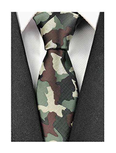 Men Black Camouflage Tie Neckwear Pattern Necktie by Designer Best Gifts for Friends