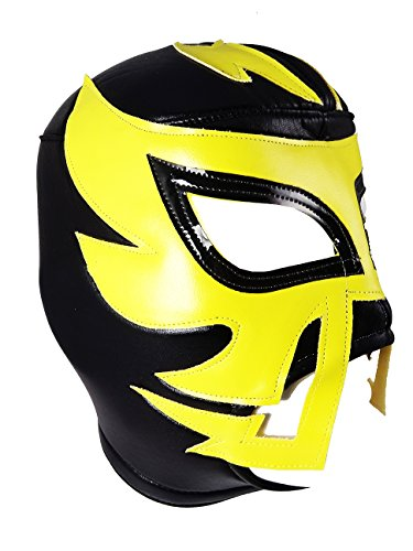 RAYMAN Adult Lucha Libre Wrestling Mask (pro-fit) Costume Wear - Black/Yellow by Mask Maniac