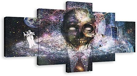 Halloween Day of the Dead Skull Canvas Wall Art Abstract Black and White Prints Home Decor Decals Artwork Contemporary Pictures 5 Panel Poster Paintings Framed Ready to Hang 70″Wx40″H