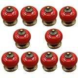 Ozzptuu 10PCS Ceramic Pumpkin Style Door Knobs Lovely Candy Color Door Pull Handle for Drawer Furniture with Single Hole Design (Red)