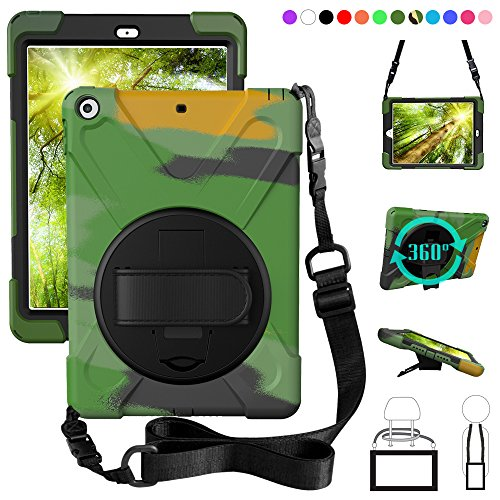 ZenRich New iPad 9.7 2017 2018 Case,360 Degree Rotatable with Kickstand,Hand Strap and Shoulder Strap case, 3 Layer Hybrid Heavy Duty Shockproof case for iPad 9.7 5th/6th Generation (Camouflage)