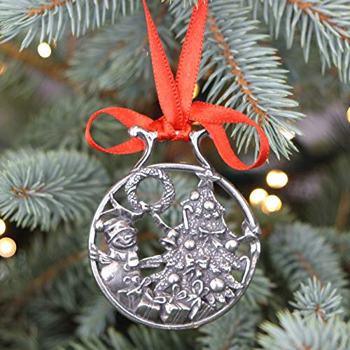 (English Pewter Company 'Snowman at The Tree' Luxury Pewter Christmas Tree Decoration Pendant Baubles Ornament [CHR004])