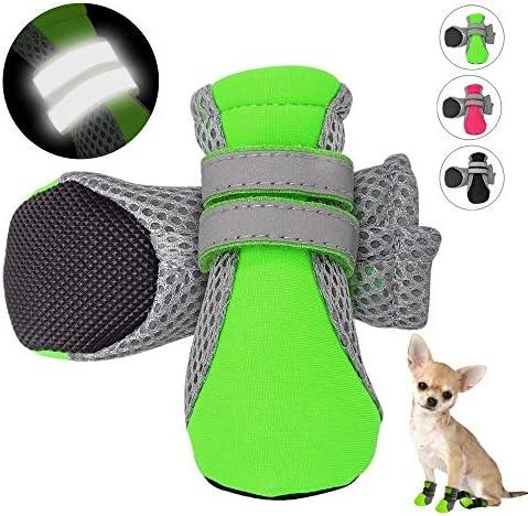 FHOOMY 4pcs反射犬靴滑り止め防水ブーツ通気性レインウェア足プロテクターアウトドア靴下中小犬用犬用ブーツ(色:緑、サイズ:S)
