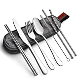 Reusable Travel Utensils Silverware with Case,Travel Camping Cutlery set,Chopsticks and Straw for Camping, Portable Flatware Cutlery Set with Case, Stainless steel Travel Utensil set 8 Piece