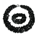 Multi Strands Black Simulated Onyx Chips Cluster Necklace Bracelet Set Silver Plated