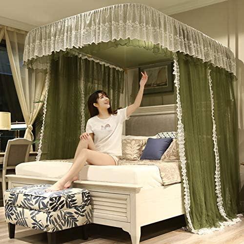 引き込み式ベッドキャノピー,欧州 ガイド レール 暗号化糸蚊帳 レース ベッドキャノピー の-形 ダブルベッド用ベッドカーテン-