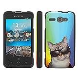 Cat Rainbow - Mobiflare Alcatel OneTouch Sonic 851L 7030Y Viper Slim Guard Armor Black Phone Case