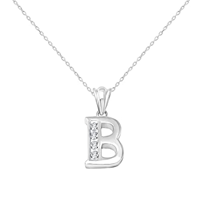Sterling silver cubic zirconia initial pendant necklace 18 chain sterling silver cubic zirconia initial pendant necklace 18quot aloadofball Choice Image