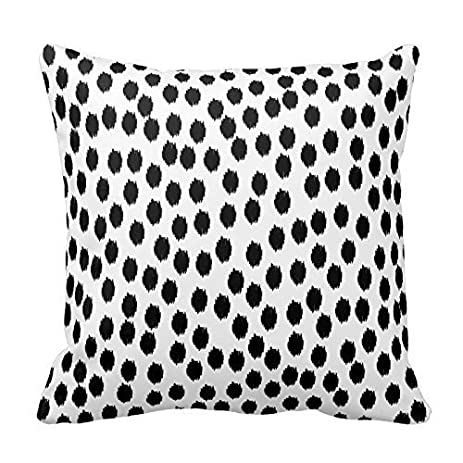 black scattered dots on white pillow home sofa decorative 18x18 inch square throw pillow case decor