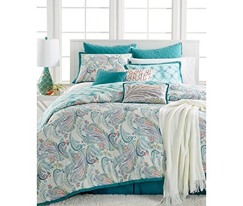 Kelly Ripa Home Fretwork Aqua 10 Pc Queen Comforter Set
