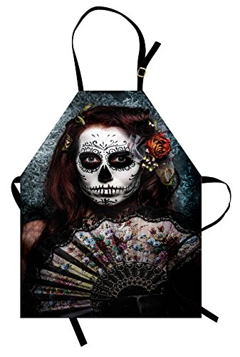 Ambesonne Day Of The Dead Apron, Make up Artist Girl with Dead Skull Scary Mask Roses Artwork Print, Unisex Kitchen Bib Apron with Adjustable Neck for Cooking Baking Gardening, Cadet (Makeup Artist Costume Ideas)