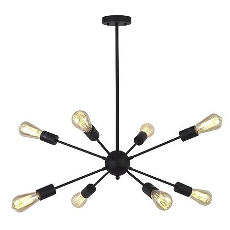 VINLUZ Light Sputnik Chandelier Black Mid Century Modern Ceiling - Black kitchen ceiling lights