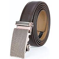 """Cinturón de vestir de trinquete de cuero genuino para hombre de Marino con hebilla automática, incluido en una elegante caja de regalo - Cuero moca - Ajustable de 28 """"a 44"""" Cintura"""
