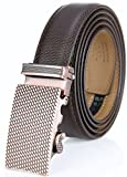 Marino Men's Genuine Leather Ratchet Dress Belt With Automatic Buckle, Enclosed in an Elegant Gift Box - Mocha Leather - Adjustable from 28'' to 44'' Waist