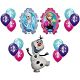 Disney Frozen X-Large Mylar Balloons Olaf Anna Elsa with 12 Ct of Each Color Latex Balloons - 14 piece Decorating Kit