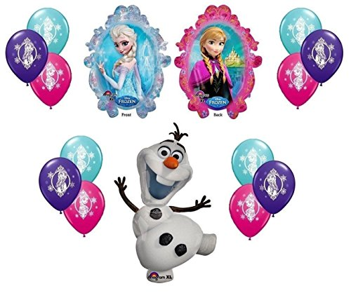 Disney Frozen X-Large Mylar Balloons Olaf Anna Elsa with 12 Ct - 4 of Each Color Latex Balloons - 14 piece Decorating Kit