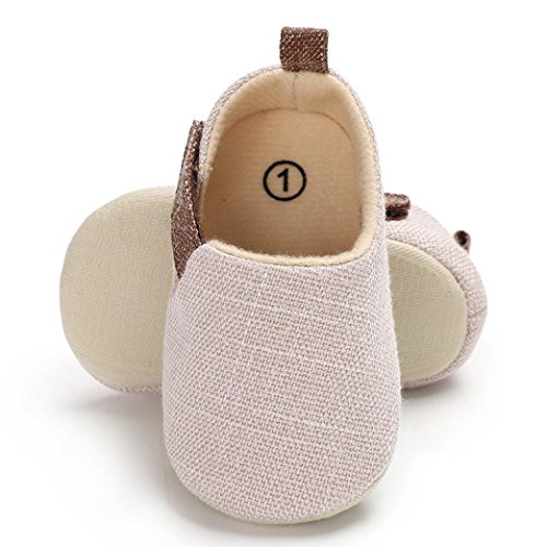 Enjocho Infant Newborn Baby Sneakers Denim Canvas Shoe Soft Sole Crib Anti-slip Single Shoes (Age:6~12 M, White) ()