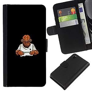 KLONGSHOP // Tirón de la caja Cartera de cuero con ranuras para tarjetas - Trampa Juego - Sony Xperia Z3 D6603 //